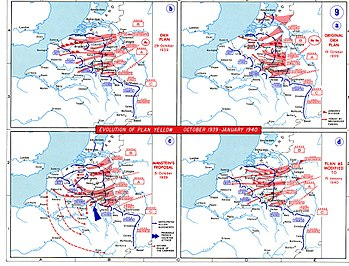 The evolution of German plans for Fall Gelb, the invasion of the Low Countries. The series begins at the right upper corner.