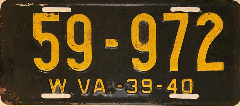 File:1939-40 West Virginia license plate.jpg
