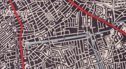 Original street layout (1945) 1945 map of street layout around Burgess Park, Southwark.png