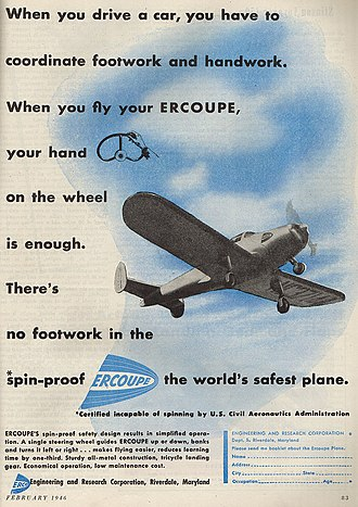 ERCO Ercoupe - A full-page Ercoupe advertisement, February 1946