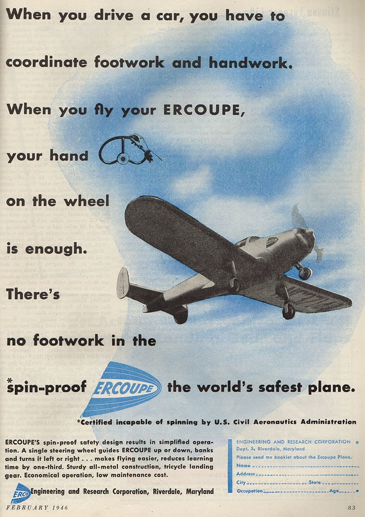1946 Ercoupe Advertisement in Skyways