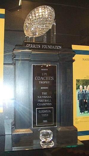 1990 Georgia Tech Yellow Jackets football team - 1990 AFCA National Championship Trophy awarded to Georgia Tech
