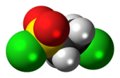 Ball-and-stick model of the 2-chloroethanesulfonyl chloride molecule