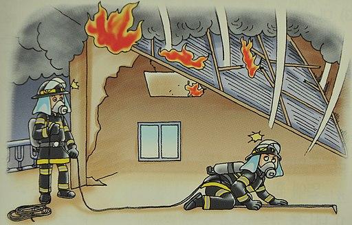 2007년 서울소방 위험예지훈련 삽화1층 검색중 2층 바닥이 낙하하여 밑에 깔림