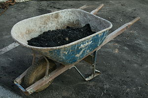 Wheelbarrow at a construction site at Duke Uni...
