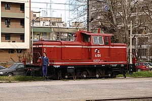 DB Class V 60 - Y60 diesel locomotive A-104 of OSE at Thessaloniki New Passenger Station, Greece.