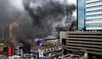 2010 Thai military crackdown - Smoke from burning tires hangs over Bangkok, 16 May 2010