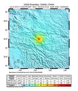 Illustrativt billede af artiklen jordskælv i 2013 i Dingxi