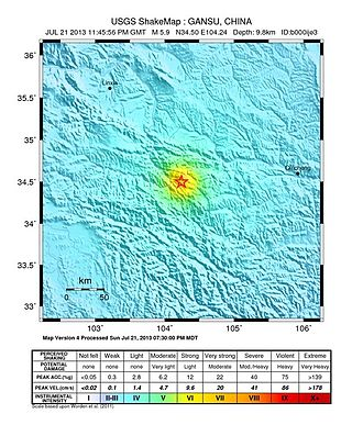 2013 Dingxi earthquakes - Shake map of the earthquake. (By United States Geological Survey)
