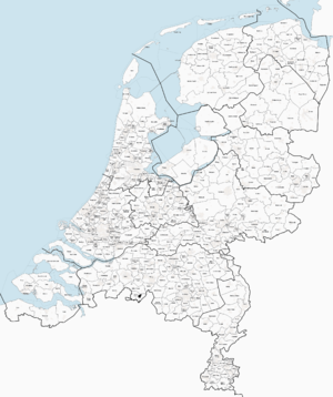 Map showing the municipal boundaries in the Netherlands in 2013