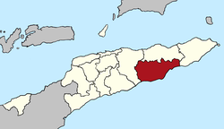 Map of East Timor highlighting Viqueque District
