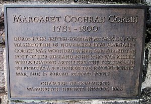 Margaret Corbin - Plaque honoring Corbin on Margaret Corbin Drive in Fort Tryon Park