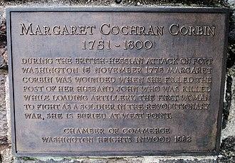Margaret Corbin - Plaque honoring Corbin on Margaret Corbin Drive in Fort Tryon Park