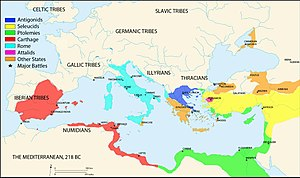 Punic Wars - Map of the Mediterranean in 218 BC