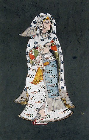 Ghoonghat -  Women in veiling, Rajput miniature painting.