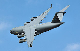 436th Operations Group - Dover's newest Boeing C-17A Globemaster III 07-7177 banks during a flyover before it landed on 9 September 2008.