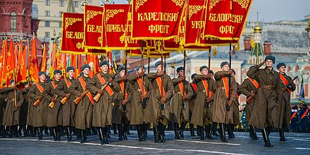 Soldiers dressed in Red Army uniforms carrying the standards of the military fronts of the Eastern Front on Red Square, November 7, 2018. 4Samarin.jpg