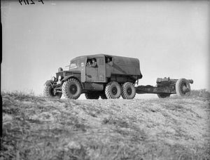 Artillery tractor - Wheeled British WWII Scammell Pioneer towing an 8-inch howitzer