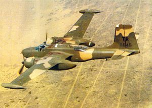 609th Special Operations Squadron - An A-26 Invader of the 609th Special Operations Squadron flying near Nakhon Phanom Royal Thai Air Base in 1969.