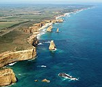 A192, Port Campbell National Park, Australia, Twelve Apostles sea stacks from helicopter, 2007.JPG