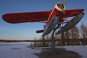 Thompson, Manitoba - A Noorduyn Norseman attached to a display stand. Bush planes provide short-haul transport to the many lakes in the region.