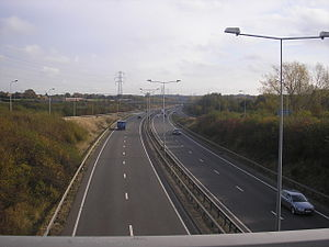 Tamworth, Staffordshire - The A5 (Thomas Guy Way) passing through Tamworth, looking south from Glascote
