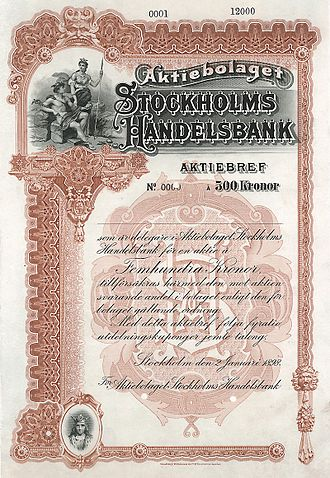 Handelsbanken - Specimen of the AB Stockholms Handelsbank from the 2nd January 1898