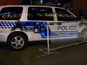 """A.C.A.B. - A Montreal police car spray-painted with """"ACAB"""" during the 2012 Quebec student protests"""