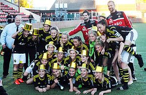 AIK Fotboll (women) - Celebrating promotion in October 2013