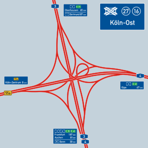 Overview map of the Köln-Ost motorway junction