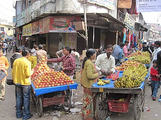 Pilibhit - A busy market on station road in Pilibhit city