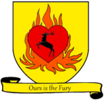 A coat of arms showing a crowned black stag in a red heart engulfed in orange flames on a field of yellow.