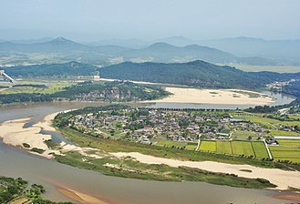 Andong - An aerial view of Hahoe Folk Village
