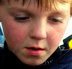 English: A child sad that his hot dog fell to ...