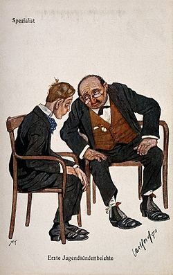 A gaunt adolescent consults a weary specialist. Colour proce Wellcome V0011946.jpg