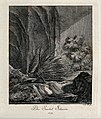 A porcupine walking in a rocky landscape. Etching by J. E. R Wellcome V0021072ER.jpg