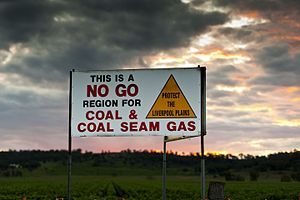 Liverpool Plains - A sign protesting coal and gas mining in the Liverpool Plains, NSW