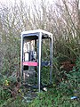 A vandalised telephone box by Station Lane - geograph.org.uk - 1607057.jpg