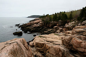 A rocky portion of the coastline in Acadia Nat...