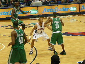 Acie Law - Law guards Rajon Rondo of the Boston Celtics in the 2008 NBA Playoffs.