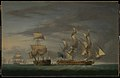 Action between the Amazone and HMS Santa Margarita - cutting the prize adrift, 30 July 1782 RMG L9747.jpg