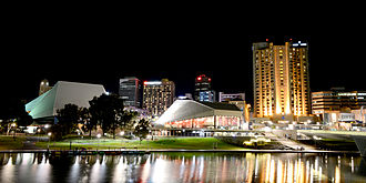 Adelaide Festival Centre - Adelaide Festival Centre at night with the River Torrens in the foreground