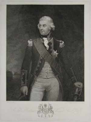 Battle of Tory Island - Newly promoted Rear Admiral Sir John Borlase Warren.  Mark Oates, 1799