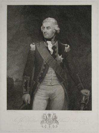 Battle of Tory Island - Newly promoted Rear Admiral Sir John Borlase Warren.  Mark Oates, 1799