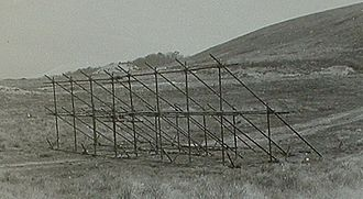 Admiralty scaffolding - A section of Admiralty scaffolding prepared for testing