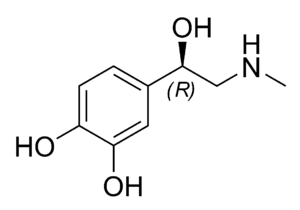 Chemical structure of epinephrine (adrenaline)