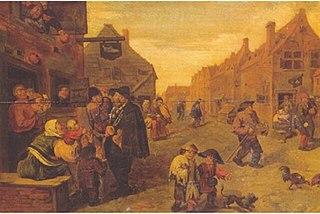 Boors listening to a Hurdy-Gurdy, outside a Shoemaker's workshop, in a Village Street