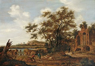 Wooded River Landscape with Travelers on Old Ruins