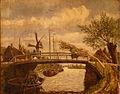 Adrien Jean Madiol - Hollands rivierlandschap met brug en molen.JPG