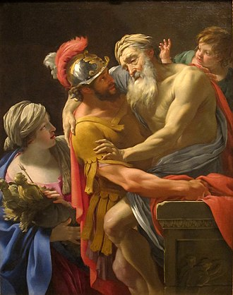 San Diego Museum of Art - Image: Aeneas and his Father Fleeing Troy by Simon Vouet, San Diego Museum of Art